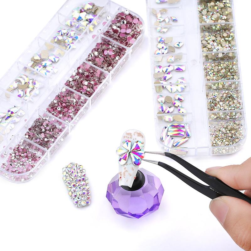 Wholesale Nail Diamond Rhinestones K9 Nail Designs Rhinestone 3D Crystal Box for Nails