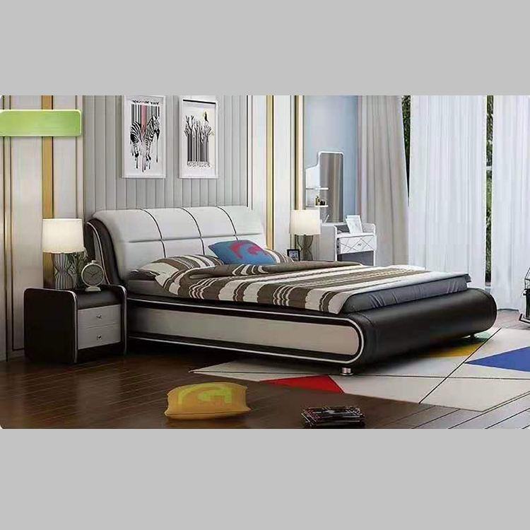Modern Italian Latest Double Design Furniture Set Leather King Size Bed