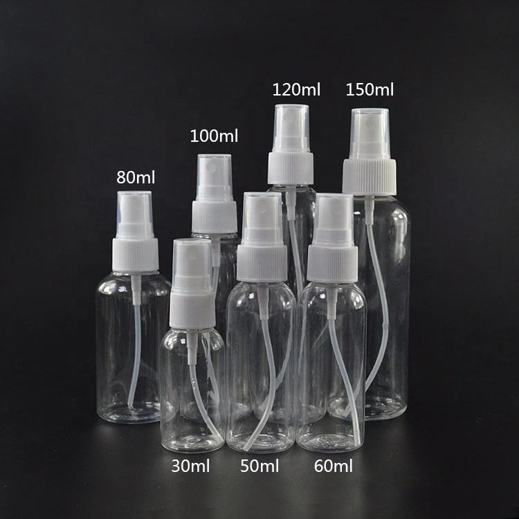 hot sale 30ml 1oz 50ml 60ml 2oz 100ml 3 oz PET plastic spray perfume bottles with cap