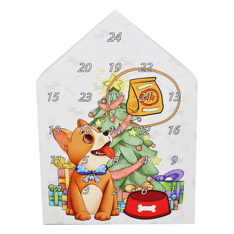Wholesale Custom Printed Daily Calendars Dog Special Paper Box Christmas Pet Toys Printed Advent Calendar