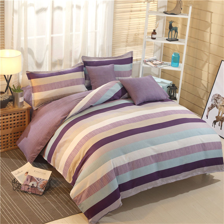 Factory Direct Sales Geometric Printing Style Bedding Set 100% Cotton Girls Double Home 4 Piece Bedding Set//