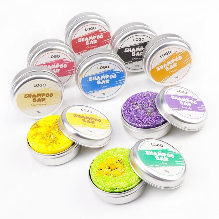 OEM Natural Mint Rosemary Hair Clean Handmade Private Label Solid Vegan Lavender Sakura Tin Box Shampoo Bar Soap for Hair