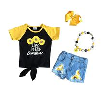 new arrivals summer baby girlsr  jeans shorts children clothes live in sunshine top sunflower denims shorts set