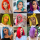 Lace Front Wigs Pink 13x4 Short Bob Lace Front Human Hair Wigs Colored Virgin Hair Wigs Pre Plucked 613 Blonde Red Pink Blue Orange Yellow Hair Wigs