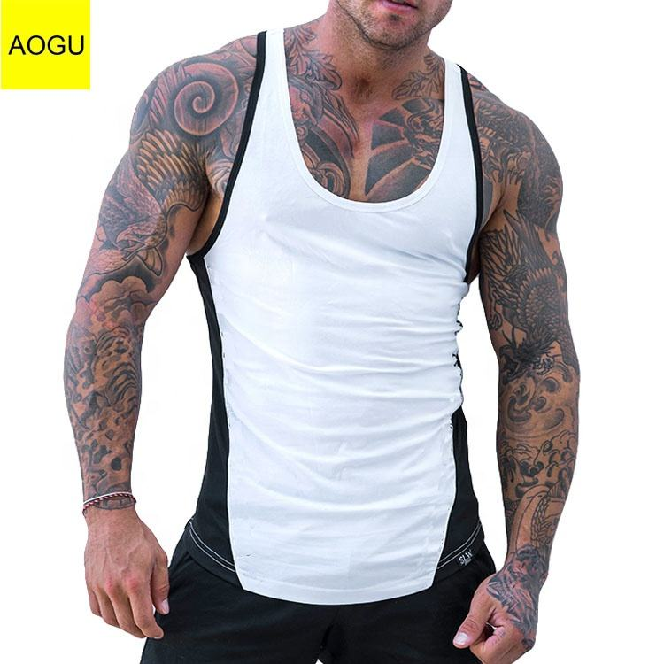 Custom Fitness Vest With Low Collar Contrast Color Stringers Mens Gym Tank Top