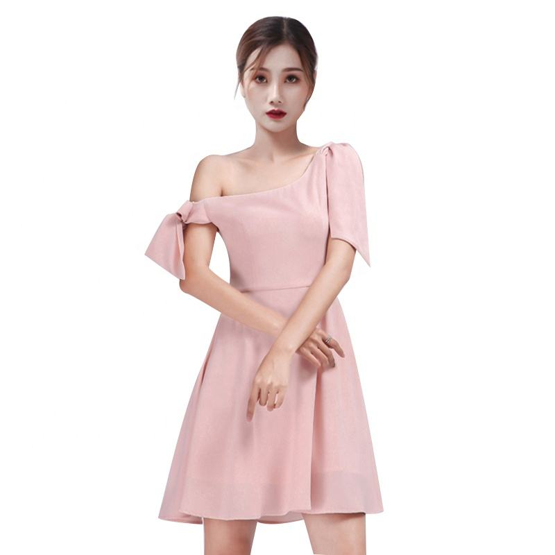 New Arrival Design Elegant Ladies Party Women Dresses Simple Sexy One Shoulder Mini Pink Dress