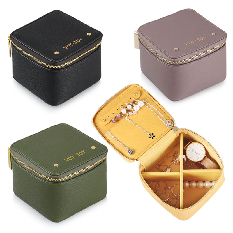 Customized Logo Travel Jewelry Case Small PU leather Organizer Travel Jewelry Box