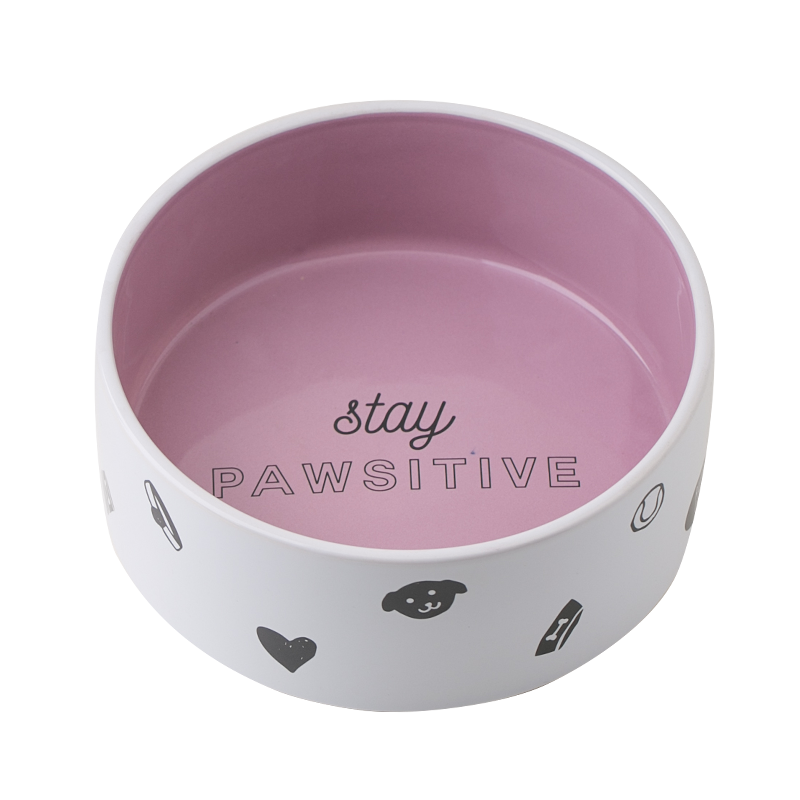 Factory Direct Sale OEM Ceramic Pink White Dog Bowl Custom Pet Food Water Feeder Bowl For Dogs Cats