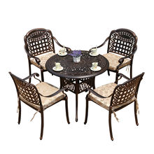 Outdoor Garden Patio 5 Pcs Cast Aluminum Tables and Chairs Outdoor Furniture Sets All Weather Metal Furniture for Garden