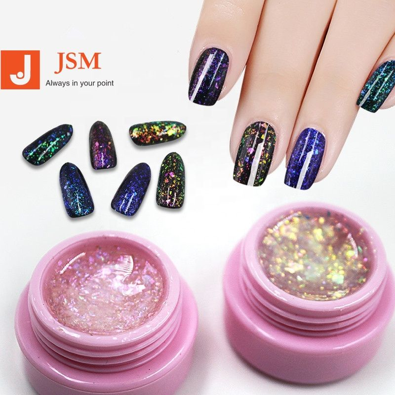 6 สี Glitter ผ้า UV GEL Magic Chameleon Sequins Soak-Off Nail Art ชุด GP030
