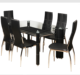 Modern style home Furniture top Glass Dining room sets 6 Person Dining Table and Chairs Set