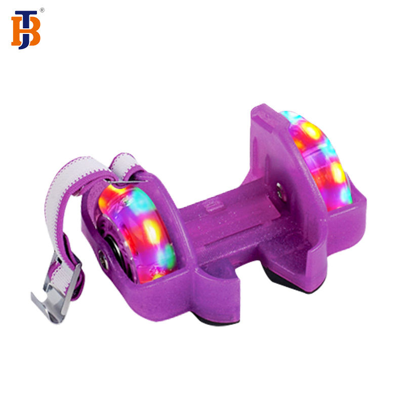 Button Models Kids Adjustable Two Wheels Heel Skate Flashing Roller Shoes With Ce Test Report
