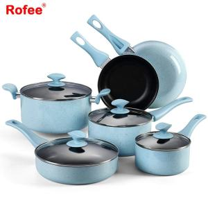 10-Piece Nonstick Pot And Pan Cookware Set For Cooking With Glass Lid