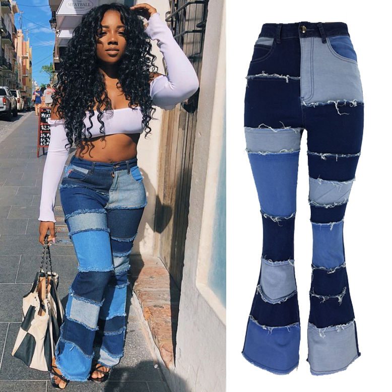 Ladies Plus Size Bell Bottom Jeans Patchwork High Waist Jeans Women Washed Flare Jeans