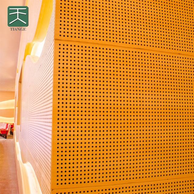 Environmental wood perforated acoustic panels for wall and ceiling