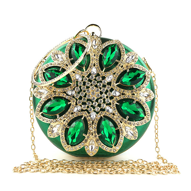 Green Clutch Women Round Clutch Bag Crystal Wedding Bridal Purse and Handbags Exquisite Chain Shoulder Bag Women Party Bag