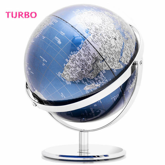 Factory direct sell 2020 new Modern Design office gift items art craft blue black big 30cm metal decorative globe map for decor