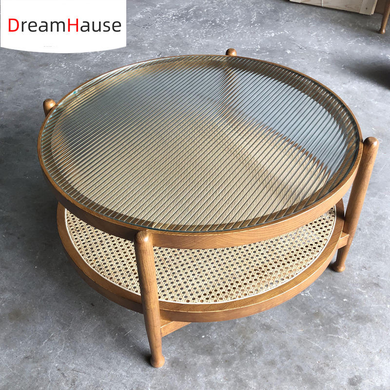 Dreamhause Nordic Rattan Coffee Table Living Room Solid Wood Round Coffee Table Corner Table Size Customized