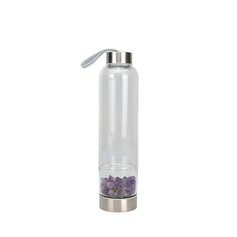 2020 nuovo Disegno di Due Estremità Passare 500Ml Bottiglie di Acqua di Vetro Su Ordinazione Con Il Cristallo Gemma