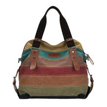 Lady vintage stripe canvas handbag sling shoulder bags for ladies
