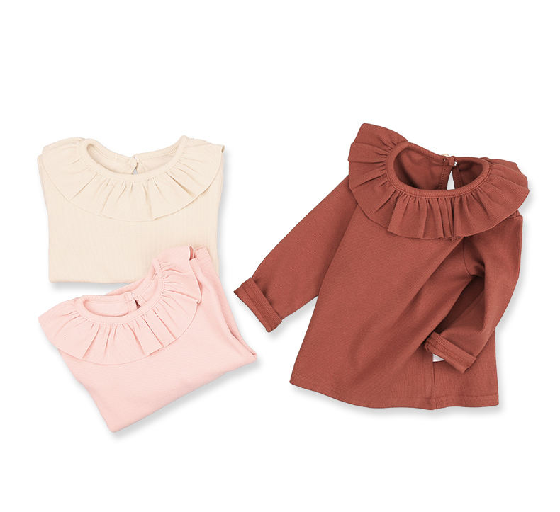 China supplier long sleeve girls tops t shirt cotton children clothes ruffle neck tshirt wear