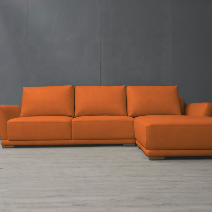 European Style Orange leather Sectional Sofa L shaped Recliner Living Room Corner Sofa Set