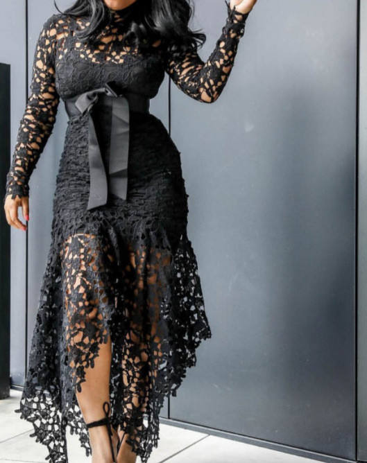 LY057# Plus color plus size women clothing hot sale loose with waist belt fashion new lace dress