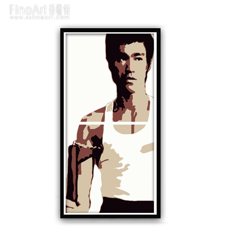Handmade Famous Celebrity portrait pop art oil painting on canvas, BRUCE LEE Chinese Kong Fu MOVIE