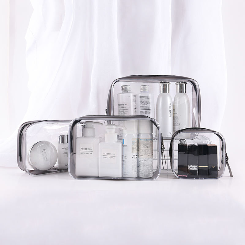Clear Makeup Organizer Pouches Tote Travel Toiletry Bags Transparent PVC Cosmetic Bag