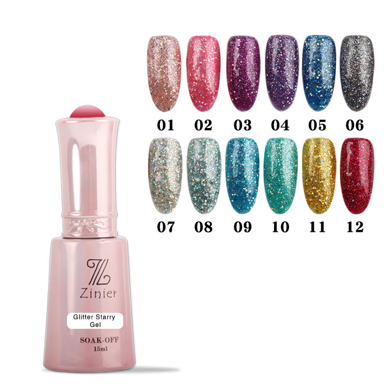 Qshy <span class=keywords><strong>Scintillio</strong></span> Stellato Sharp flash Polvere Glitter Nail Gel Polish