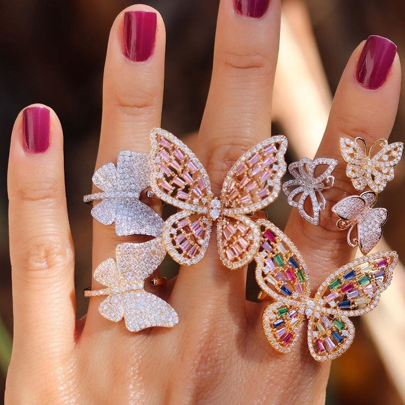 Butterfly Cocktail ring Gold plated pink rainbow baguette cz luxury open adjusted big rings