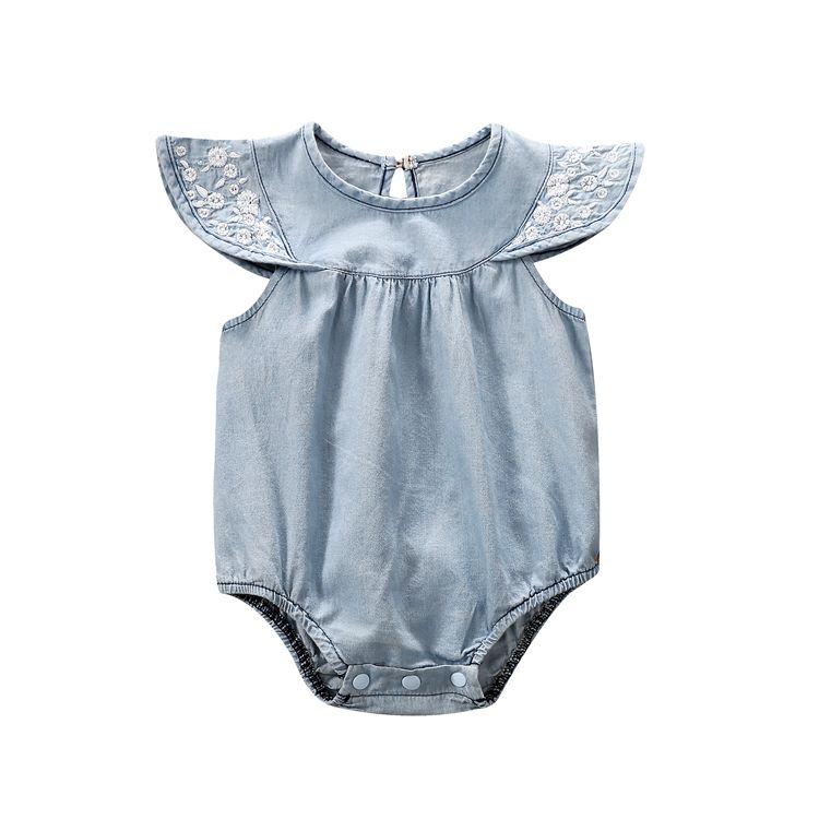 Nuevo diseño boutique niño recién nacido mameluco ropa de <span class=keywords><strong>bebé</strong></span> ropa de <span class=keywords><strong>denim</strong></span>