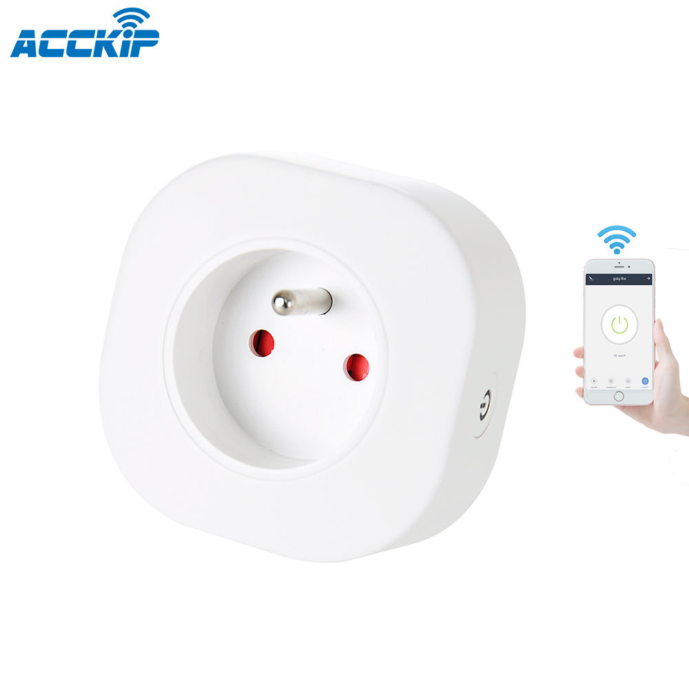 ACCKIP Smart Plug Wifi Smart Socket 10A FR Plug Outlet Works With Google Home Alexa Energy Monitoring prise connectee wifi