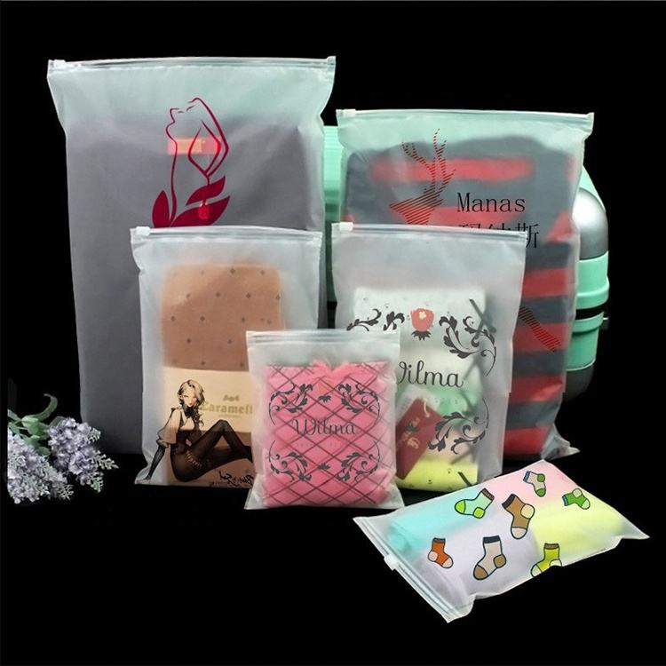 Frosted translucence clothing packaging bag clear pvc ziplock bag with custom logo printed