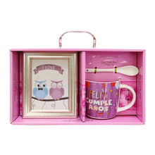 New Customized Spanish Language Cheap Bulk Ceramic Mug For Birthday Gift Set With Photoframe