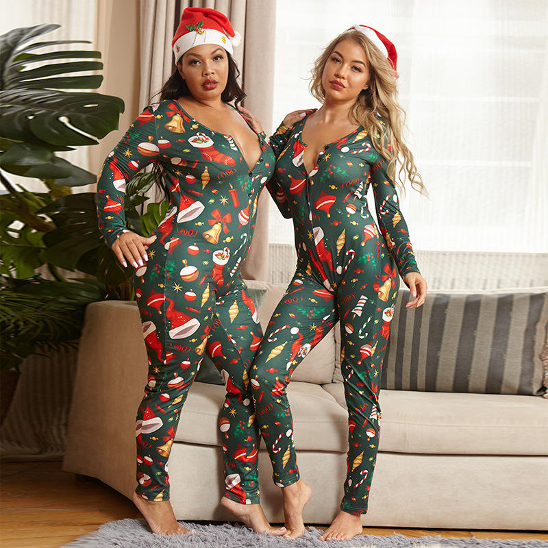 2020 Sexy Christmas Printed Tight Adult Women Deep V-neck Pajamas Bodycon Jumpsuit Rompers Sleepwear Onesie