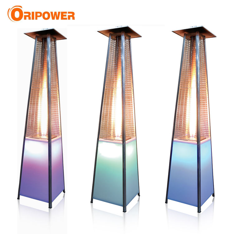 CE approved quartz glass tube stainless steel patio heaters with LED light
