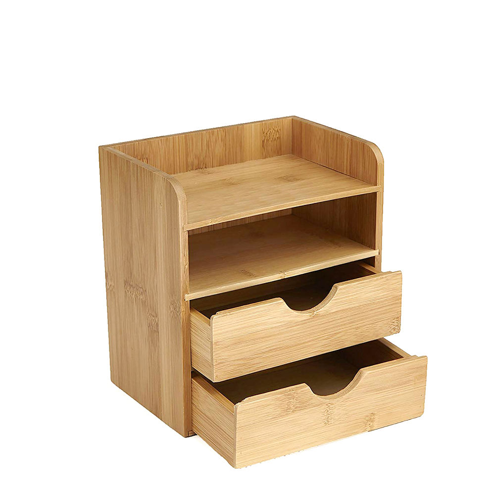 Bamboo Brown Desk Supplies Organizer with 2 Drawers