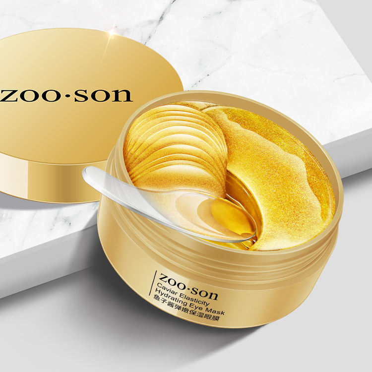 Wholesale private label ZOOSON remove dark circle patches soothing black pearl Caviar collagen crystal eye mask