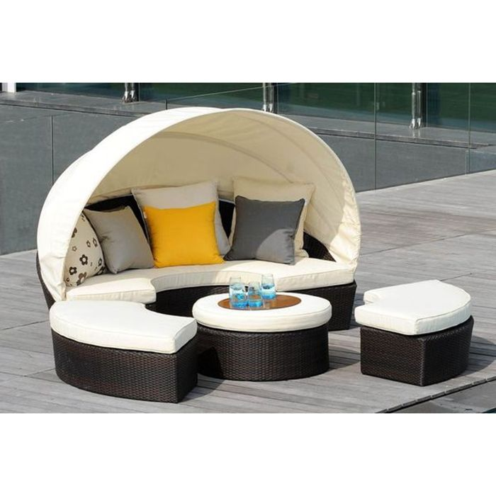 Audu All Weather Outdoor Rattan Lounge Set With Cushion