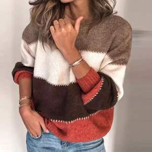 Loose Autumn Winter Striped Sweater Women Pullover Plus Size Womens Sweaters Oversized Color Block Sweater