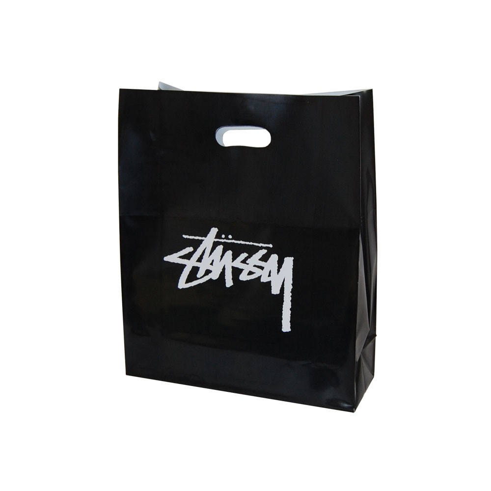 Wholesale Customizable Logo Printing Standard Size High Quality Heavy Duty Black Plastic Shopping Bag With Handle