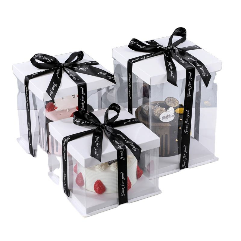 Clear Square Tall Transparent Cake Box Pet Pvc Wedding Birthday Party Gift Box