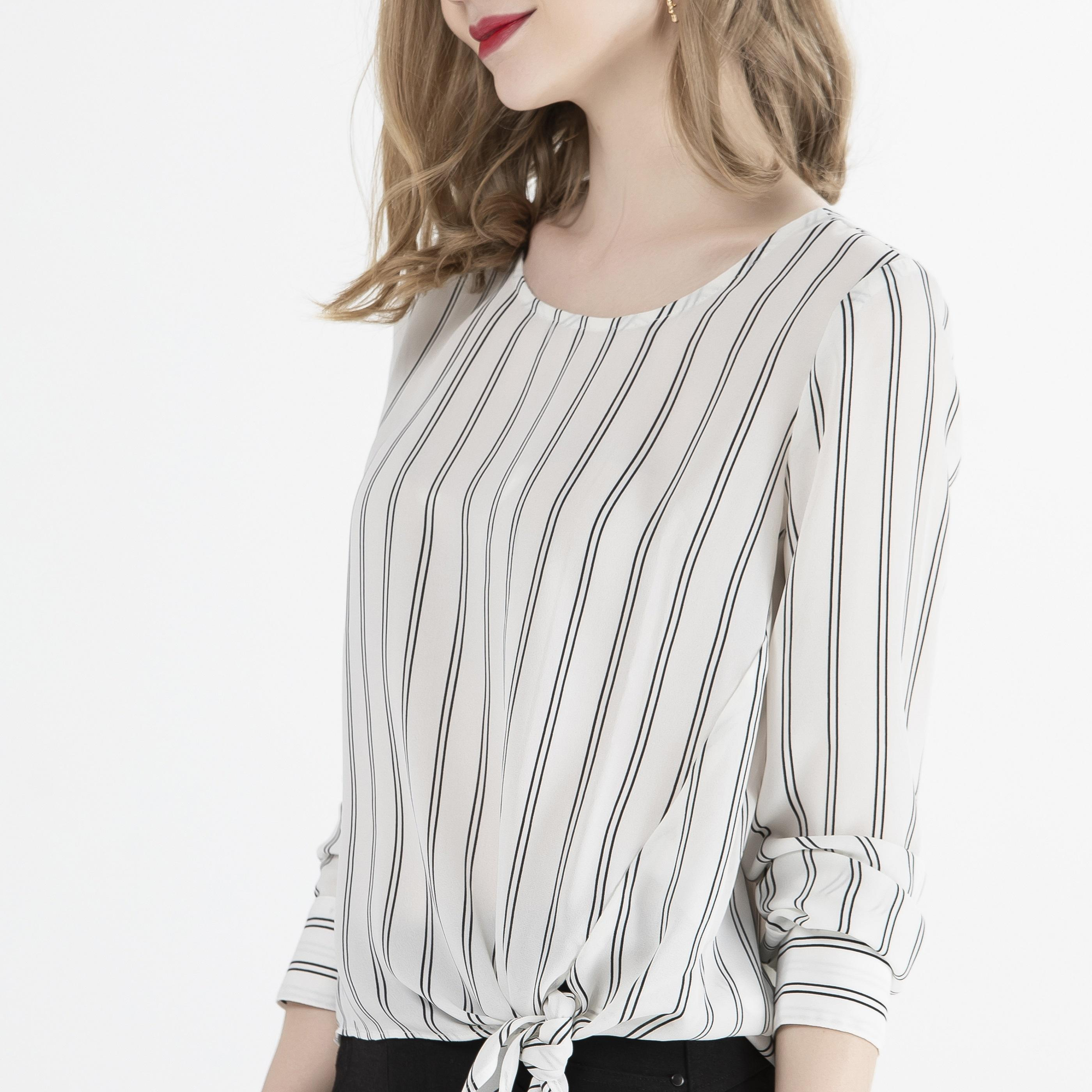 Ladies Spring Fashion Elegant Casual Round Neck Long Sleeve striped Shirts Blouses for Women
