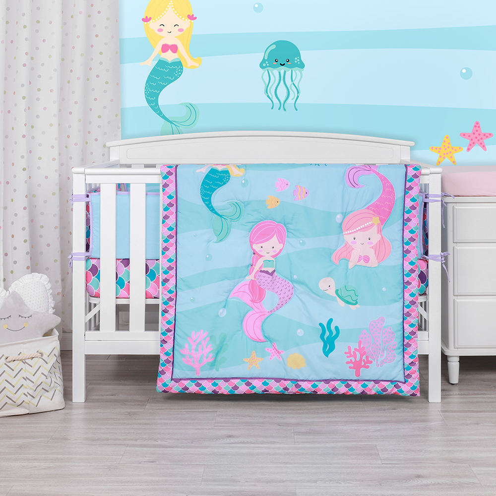 Cartoon mermaid printing cot comforter bedding girl baby bedding set crib