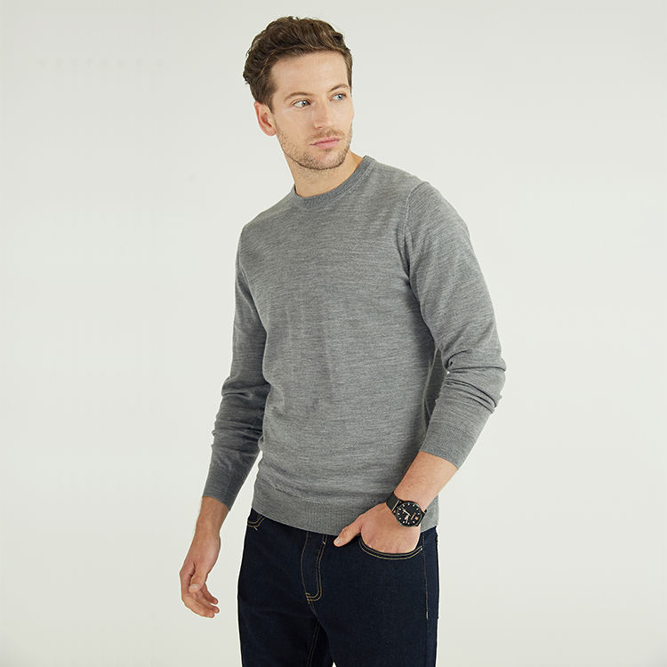 Men's 100% Merino Wool Material Sweater Custom Winter Long Sleeve Crew Neck Grey Plain knitted Pullover Sweaters For Man