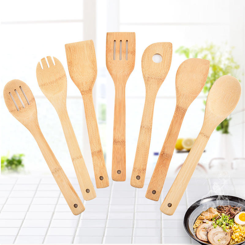7 Pieces Kitchen Set Serving Tools Cooking Utensil Natural Wooden Bamboo Cooking & Serving Utensils