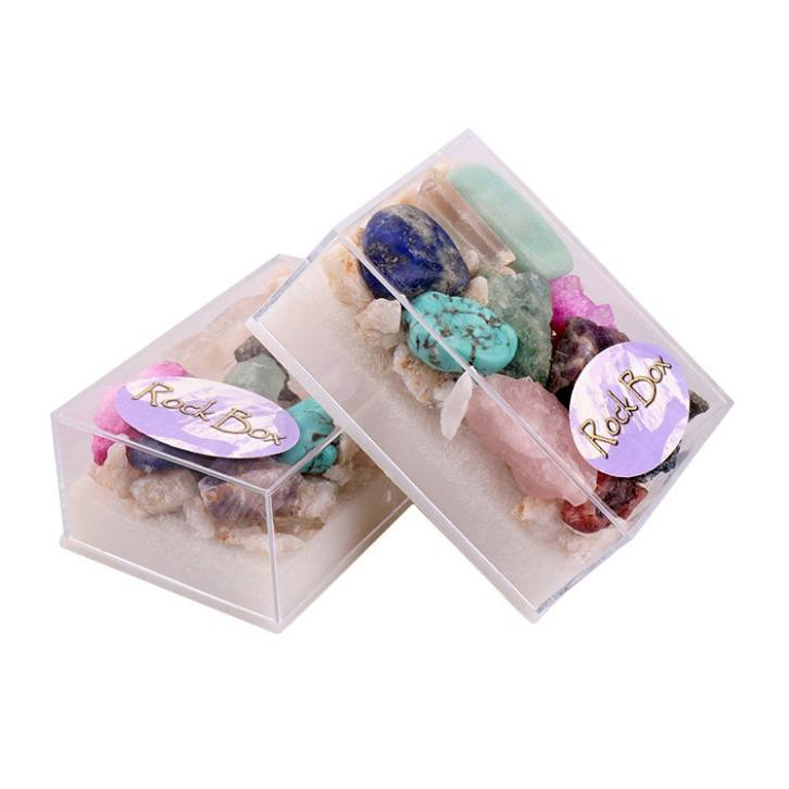 Wholesale natural rough crystals healing stones in box crystal box