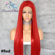 BeautyTown Red Color 13x6 Big Lace Free Part Futura No-Tangle Hair Celebirty Daily Makeup Layer Cosplay Synthetic Lace Front Wig