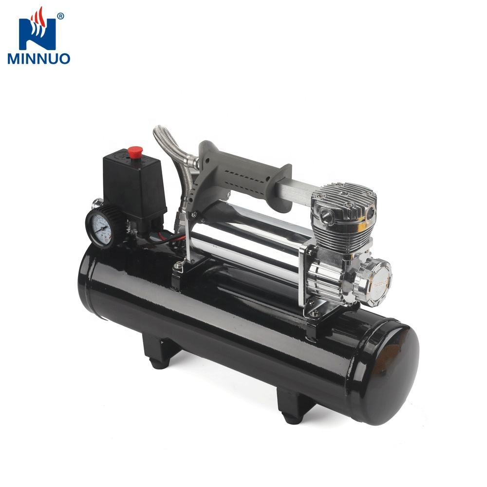 Metal 12v car tire compressor with 2 cylinders